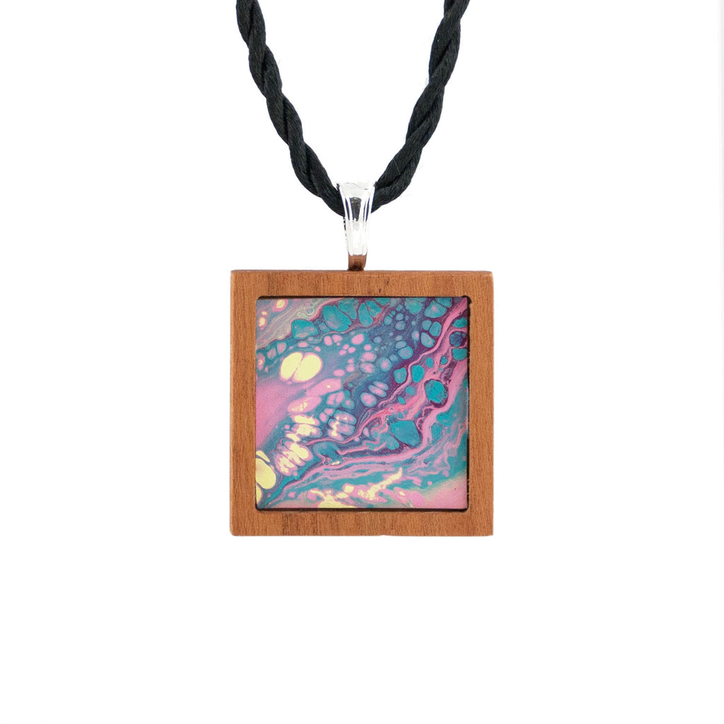 Art Necklace, turquoise and pink painting in hardwood frame