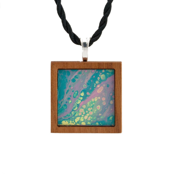 Art Necklace, teal and pink painting in hardwood frame