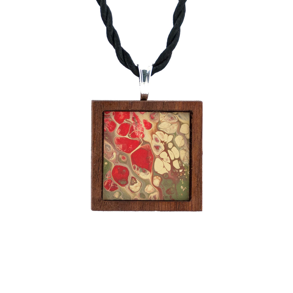 Art Necklace, red and olive painting in hardwood frame