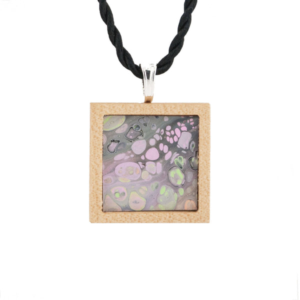 Art Necklace, gray, pink, green painting in hardwood frame