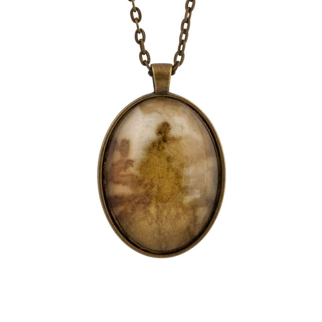 Leaf Print Necklace 33, glass cameo in vintage bronze setting