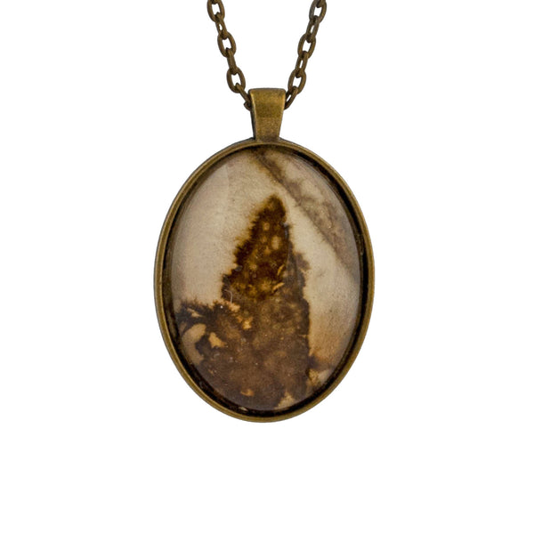 Leaf Print Necklace 35, glass cameo in vintage bronze setting