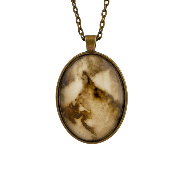 Leaf Print Necklace 36, glass cameo in vintage bronze setting
