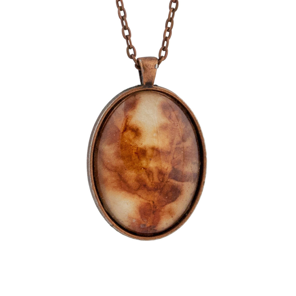 Leaf Print Necklace 38, glass cameo in antique copper setting