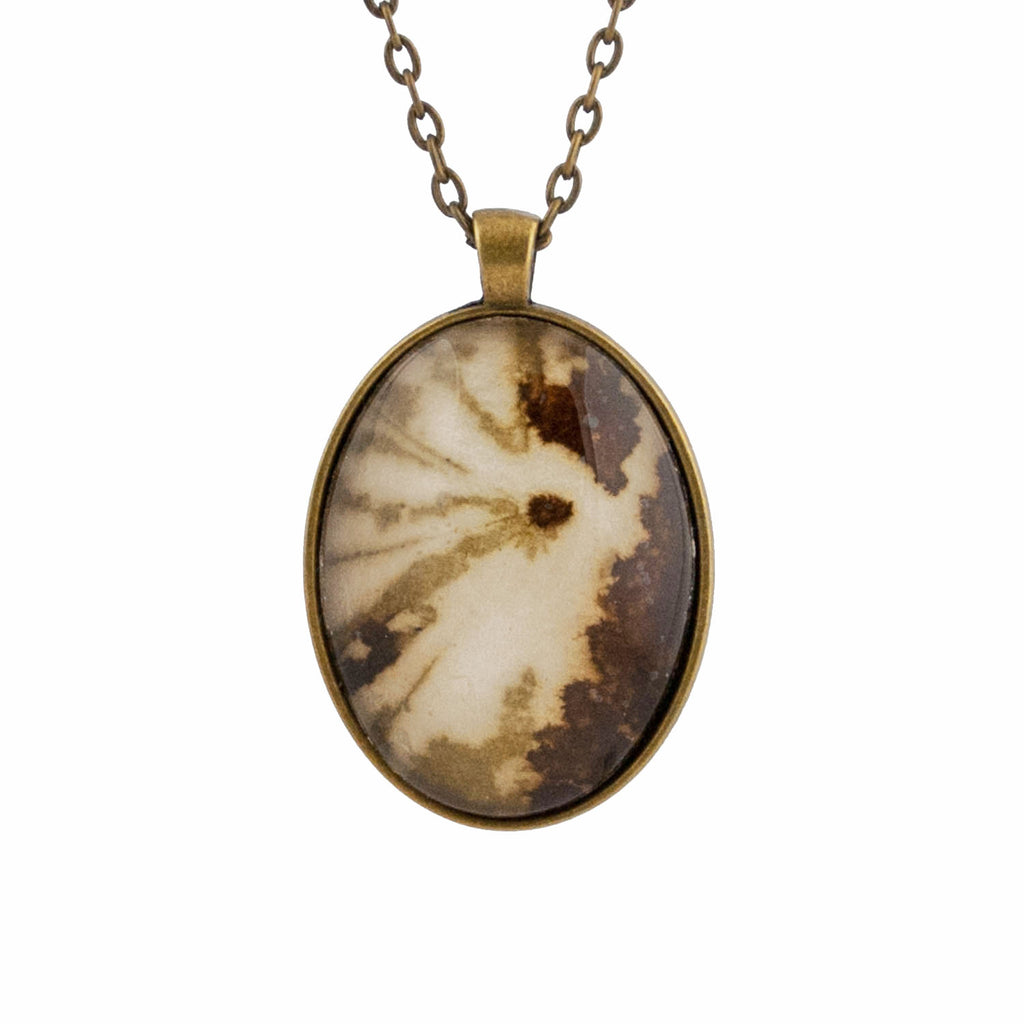 Leaf Print Necklace 39, glass cameo in vintage bronze setting