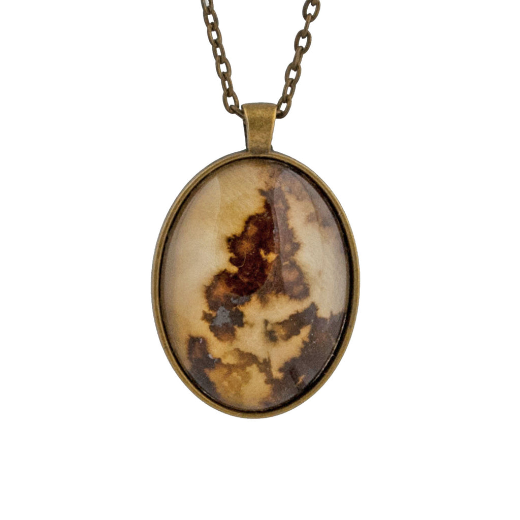 Leaf Print Necklace 40, glass cameo in vintage bronze setting
