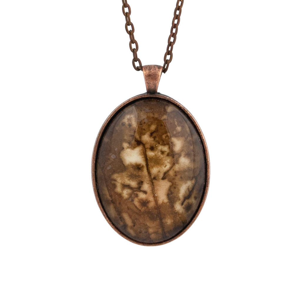Leaf Print Necklace 43, glass cameo in antique copper setting
