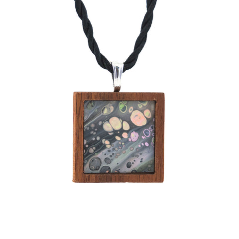 Art Necklace, gray and multi painting in hardwood frame