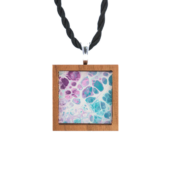 Art Necklace, purple and turquoise painting in hardwood frame