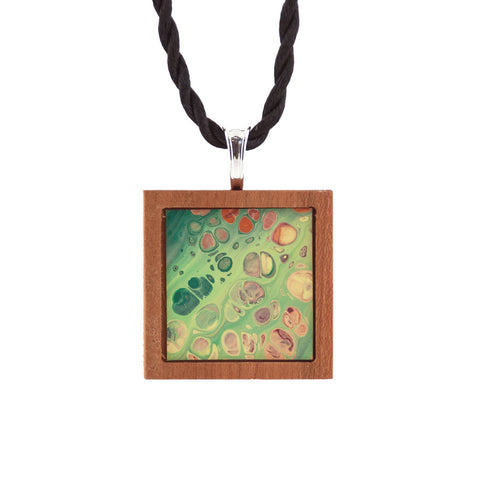 Art Necklace, green, yellow, orange painting in hardwood frame
