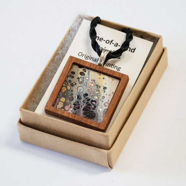 Art Necklace, green and purple painting in hardwood frame