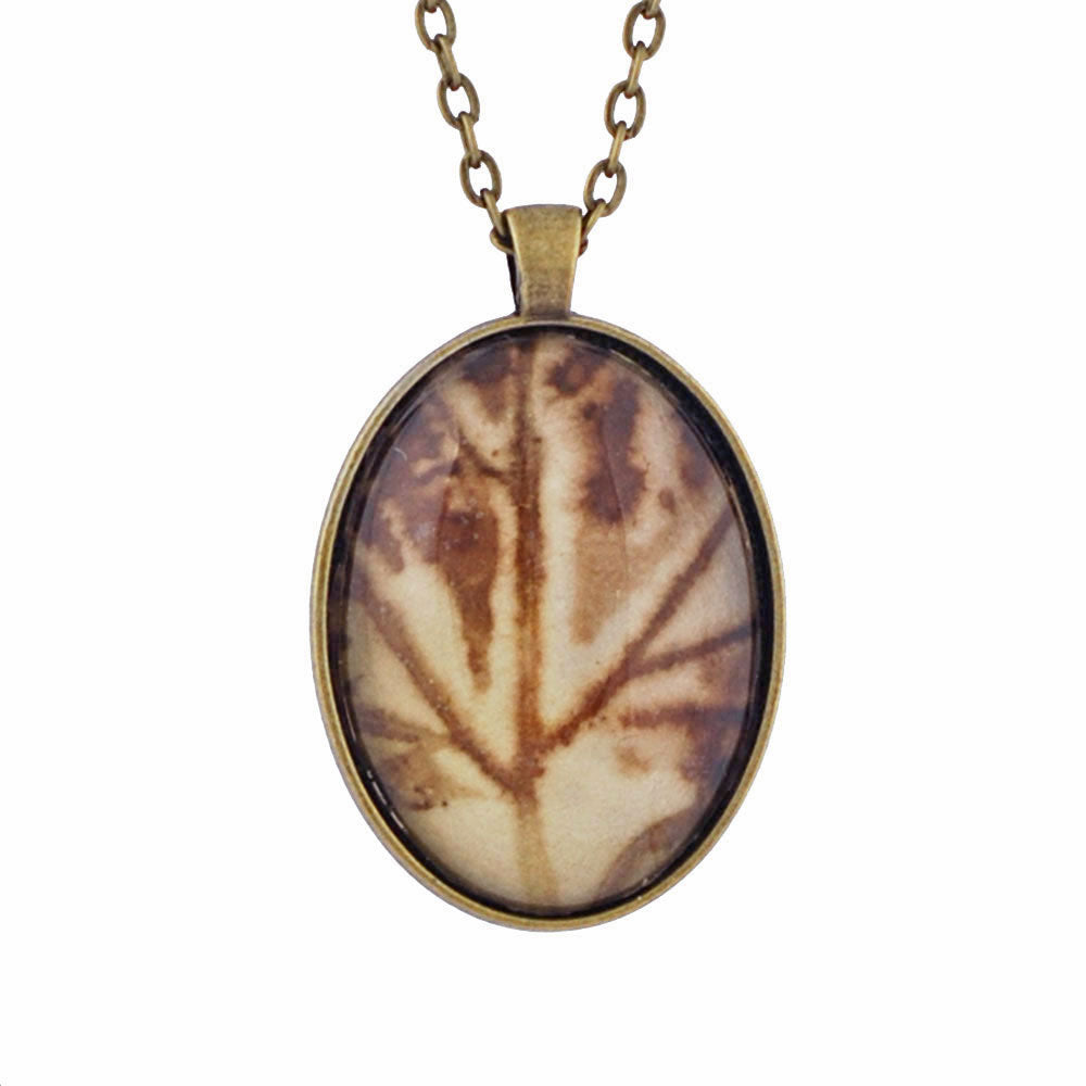 Leaf Print Necklace 14, glass cameo in vintage bronze setting