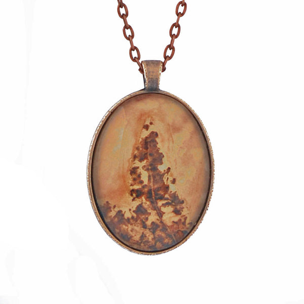 Leaf Print Necklace 25, glass cameo in antique copper setting