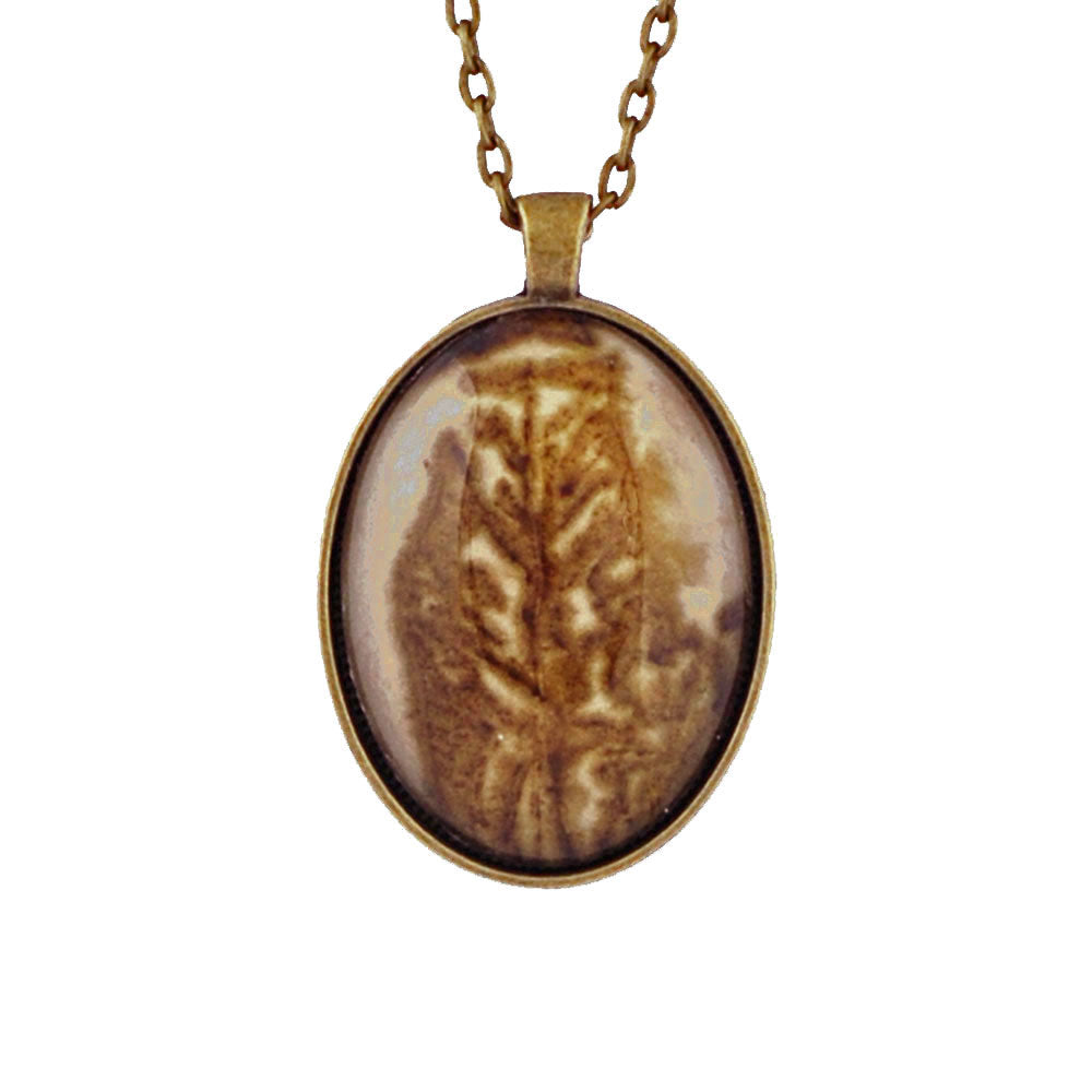 Leaf Print Necklace 26, glass cameo in vintage bronze setting