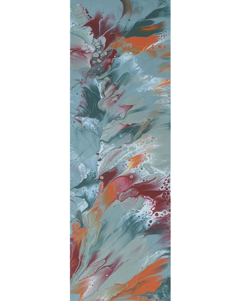 "Original painting, grays, red, orange, 24"" x 8"""