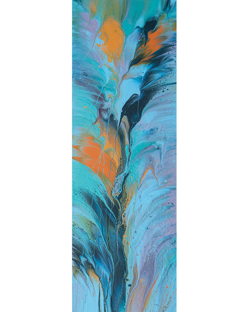 "Original painting, blues and orange, 24"" x 8"""