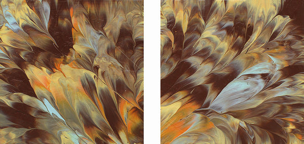 "Cassandra Tondro, abstract painting, ""Magma,"" diptych art"