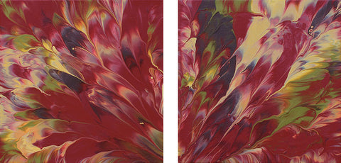 "Cassandra Tondro, abstract painting, ""New Day,"" diptych art"