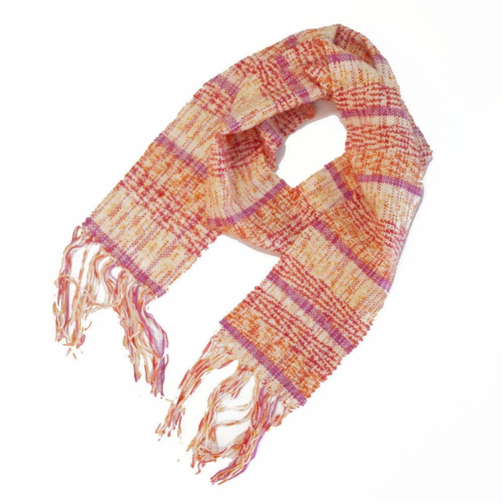 "Handwoven Scarf, cream, pink and orange cotton/wool, 5"" x 65"""