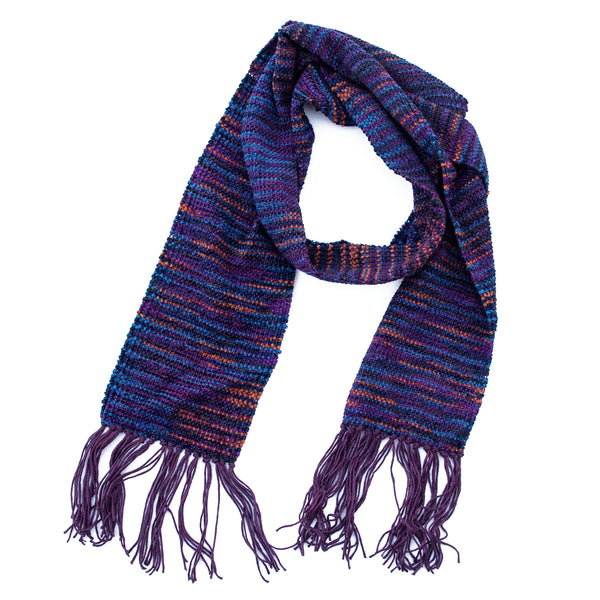 "Handwoven Scarf, purple and blue chenille, 6"" x 64"""