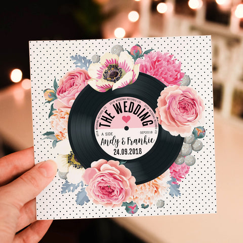 Floral Vinyl Record Inspired Wedding Invitations Pink