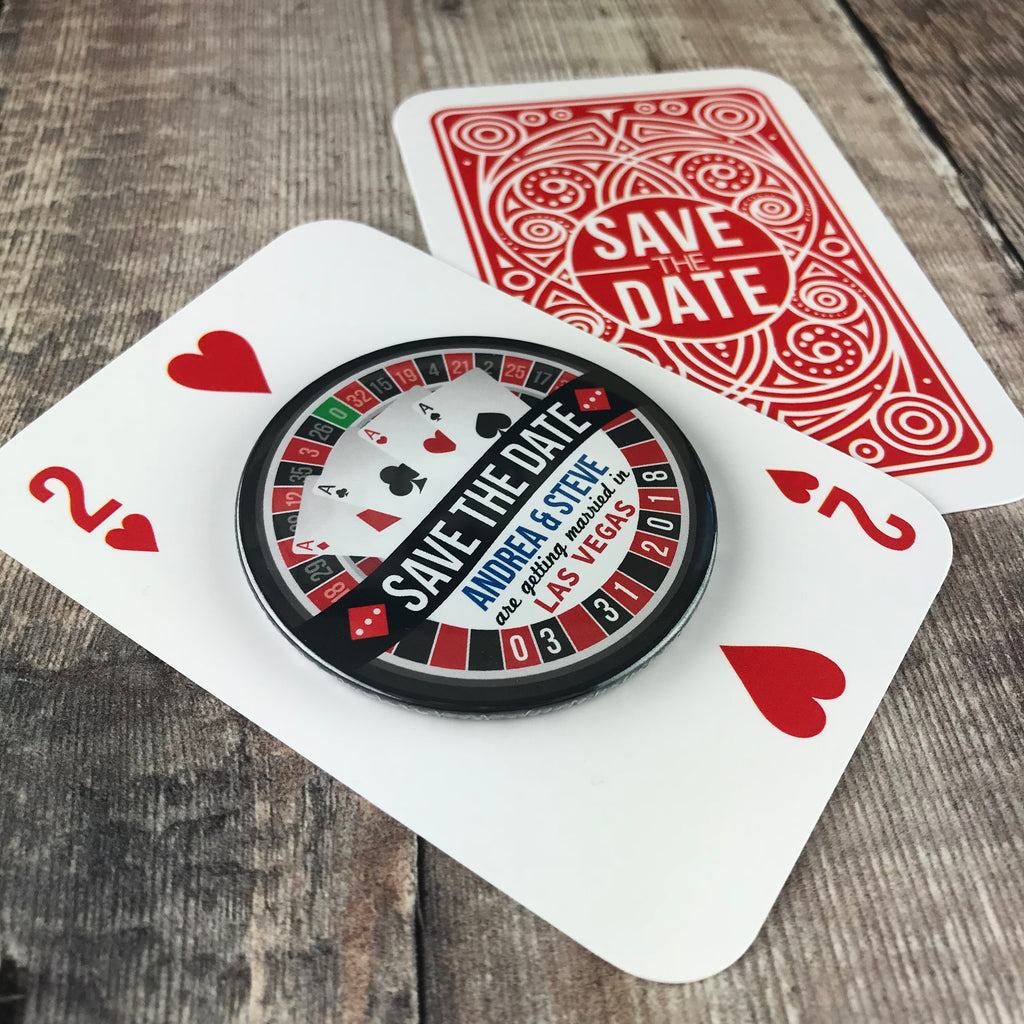 Save The Date Magnets Las Vegas Roulette Design