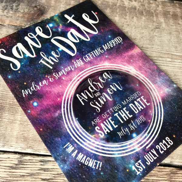 Galaxy Celestial (Space) Save The Date Magnets with Postcards