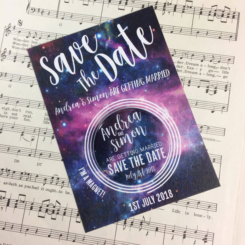 Galaxy (Space) Save The Date Magnets with Postcards
