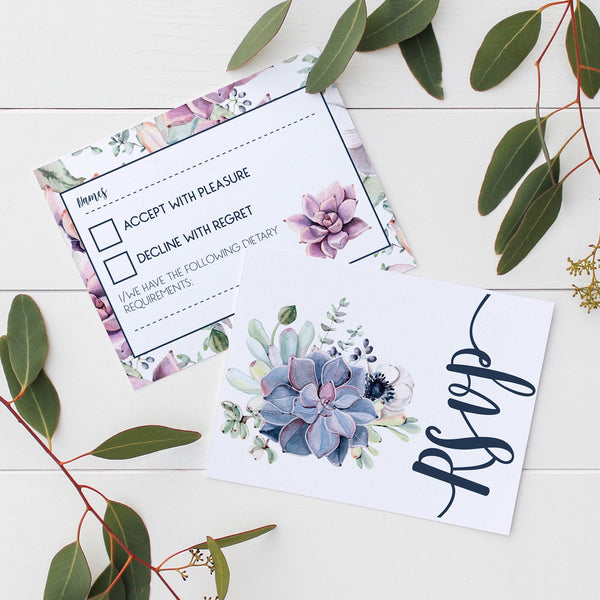 Floral Succulents Wedding Invitations