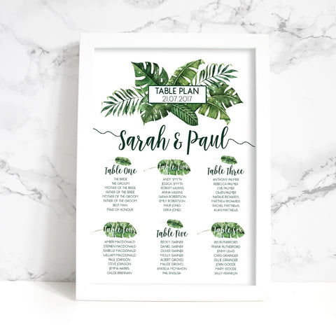 Tropical Palm Leaf Wedding Table Plan