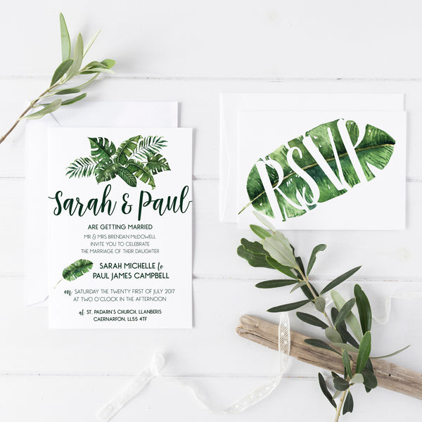 Tropical Palm Leaf Inspired Wedding Invitations