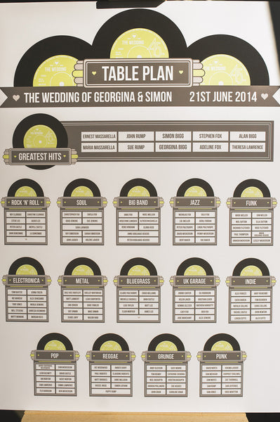 Wedding Table Plan - Printed Vinyl Record Design