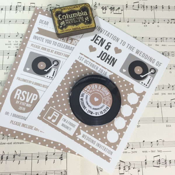 Vinyl Record Inspired Wedding Invitations with Fridge Magnets