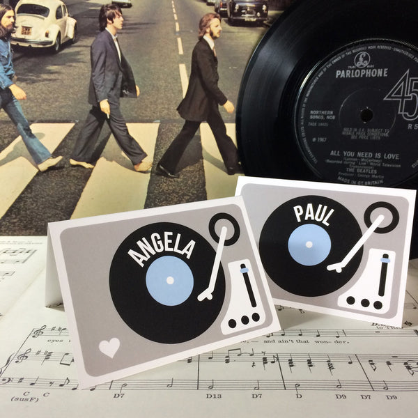 Wedding Name Place Cards - Turntable (Vinyl Record) Design