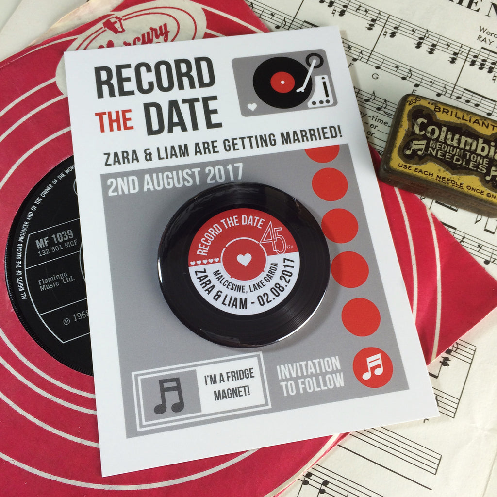 Vinyl Record Save The Date Magnets with Postcards – Love Me Do Designs