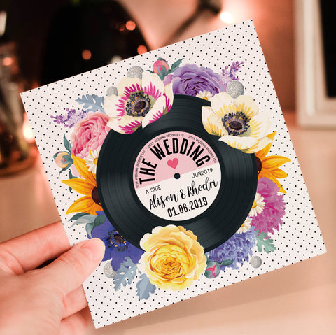 Floral Vinyl Record Inspired Wedding Invitations Bright (Sunflowers)