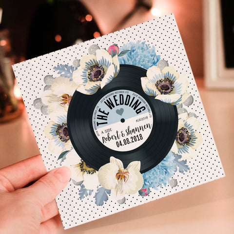 Floral Vinyl Record Inspired Wedding Invitations Blue