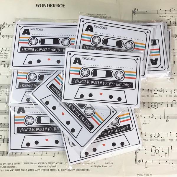 Wedding Song Request Cards - Tape Cassette Mixtape Inspired Design (Pack of 10)