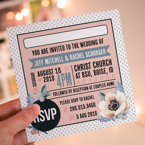 Floral Vinyl Record Inspired Wedding Invitations Slate Blue & Pink