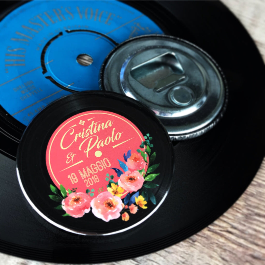 Wedding Favour Bottle Openers - Floral Vinyl Record Design