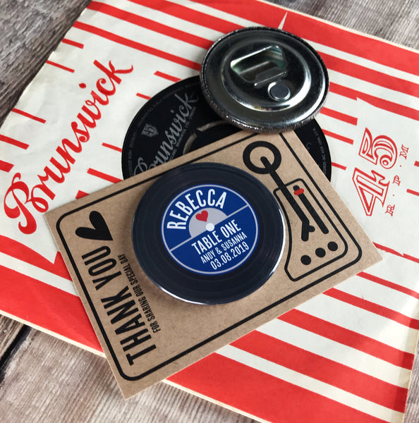 Wedding Favour/ Place Card Bottle Opener Magnets Vinyl Record Design with Mini Turntable Backing Cards