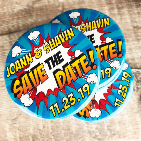 Save The Date Magnets Comic Book Design