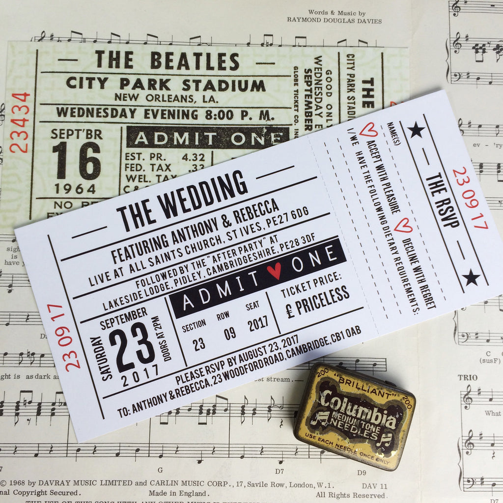 Concert Ticket Inspired Wedding Invitations – Love Me Do Designs