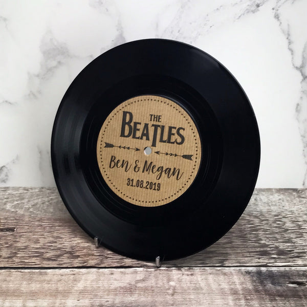 "Real 7"" Vinyl Wedding Table Numbers/ Names - Rustic Vinyl Record Design"