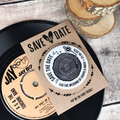 Save The Date Magnets Tree Stump Slice Turntable Design with Mini Backing Cards