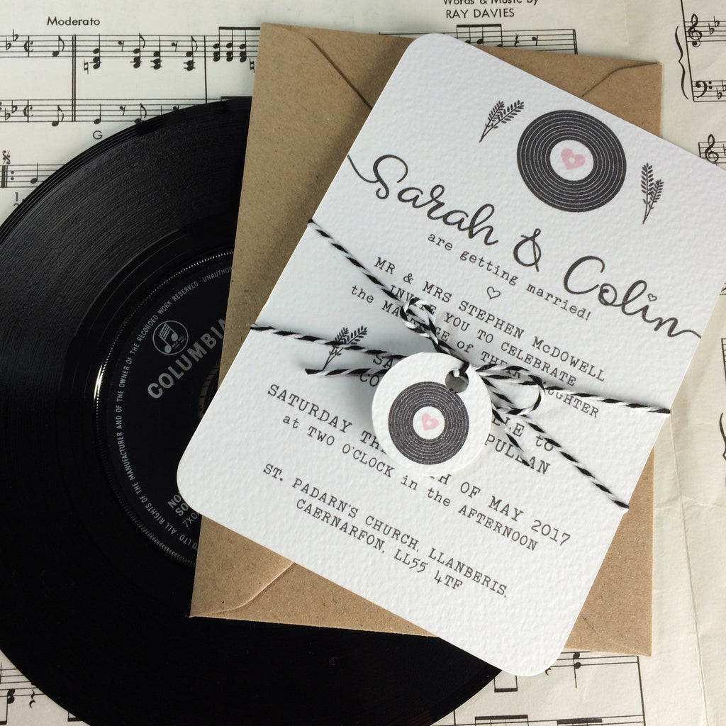 Romantic Vinyl Record Inspired Wedding Invitations – Love Me Do Designs