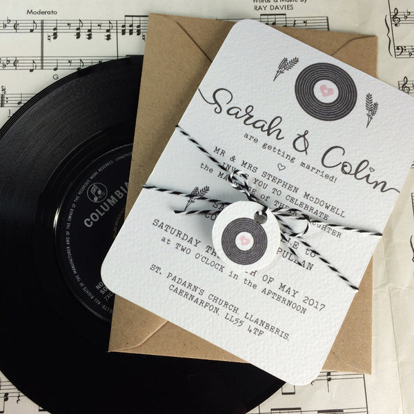 Romantic Vinyl Record Inspired Wedding Invitations