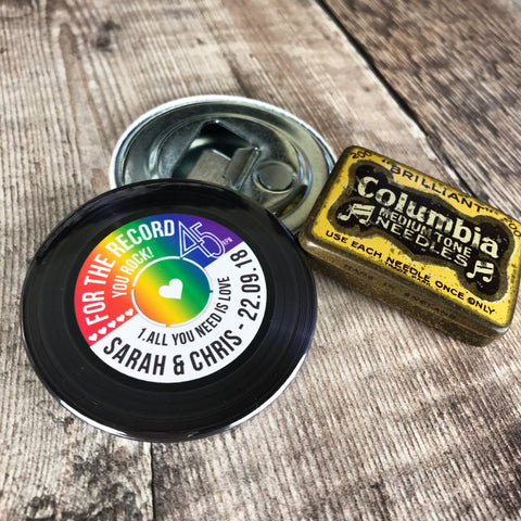 Wedding Favour Bottle Openers - Rainbow Vinyl Record Design