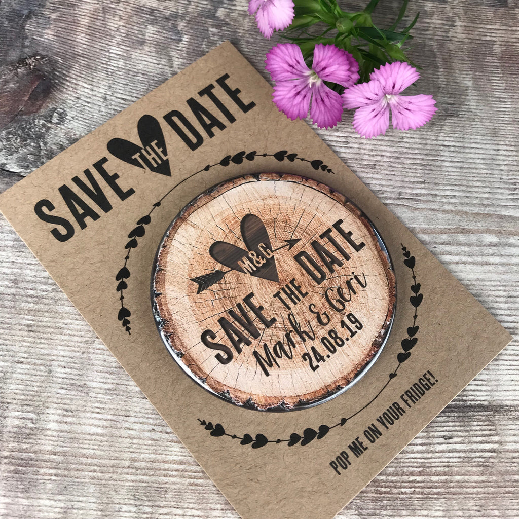 d5c6a12ce5433 Save The Date Magnets Woodland Tree Stump Design with Mini Backing Cards