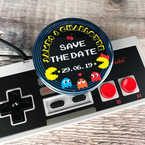 Save The Date Magnets Retro Pac-Man Design